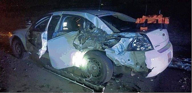 Illinois State Police say a truck sideswiped this trooper's patrol car earlier this year as he was conducting a traffic stop in Ogle County. The trooper escaped with minor injuries.