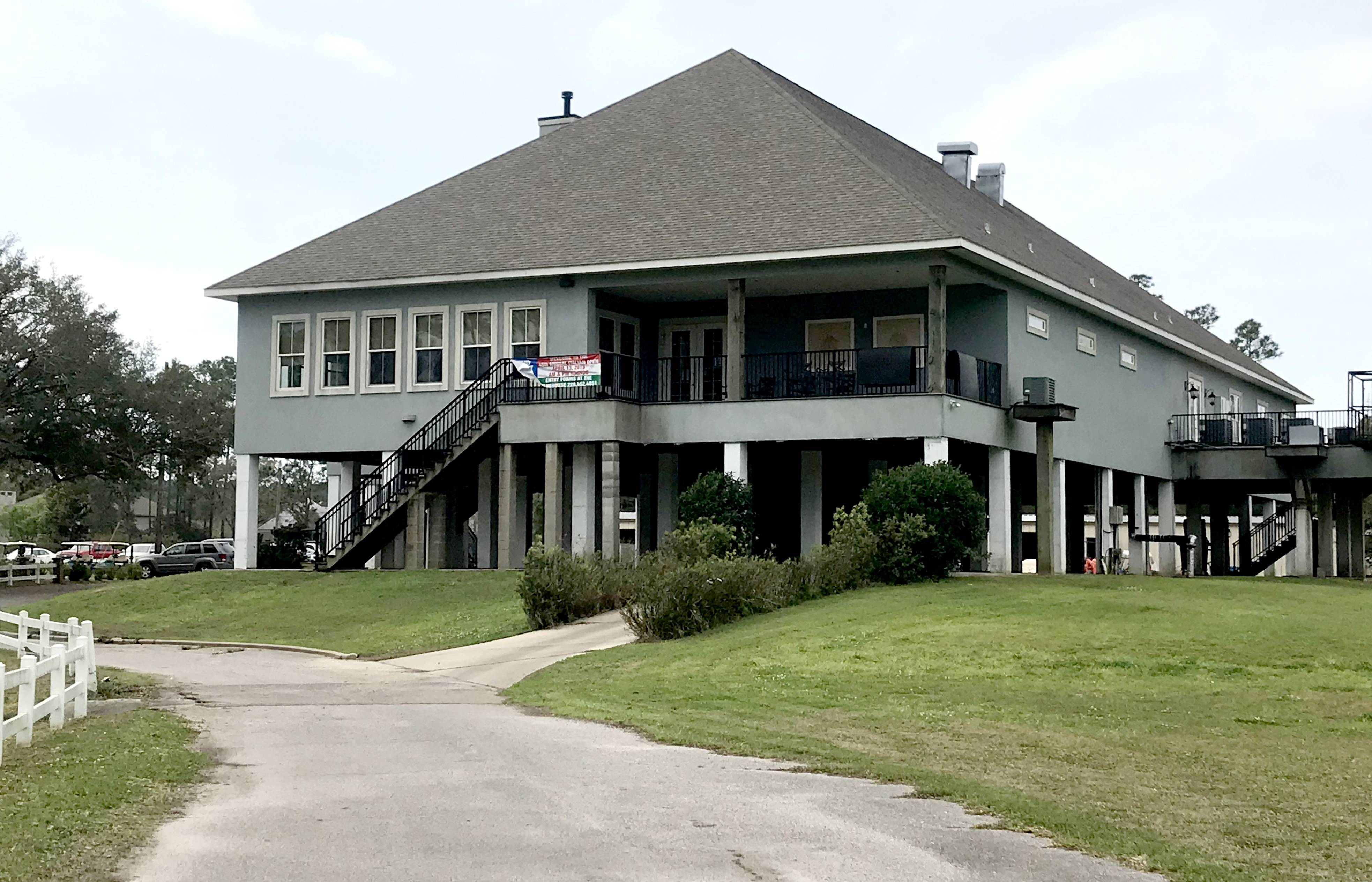 This area in Southern Mississippi was hit by a 27-foot storm surge during Hurricane Katrina, and Pass Christian Isles Golf Club rebuilt its clubhouse high off the ground.