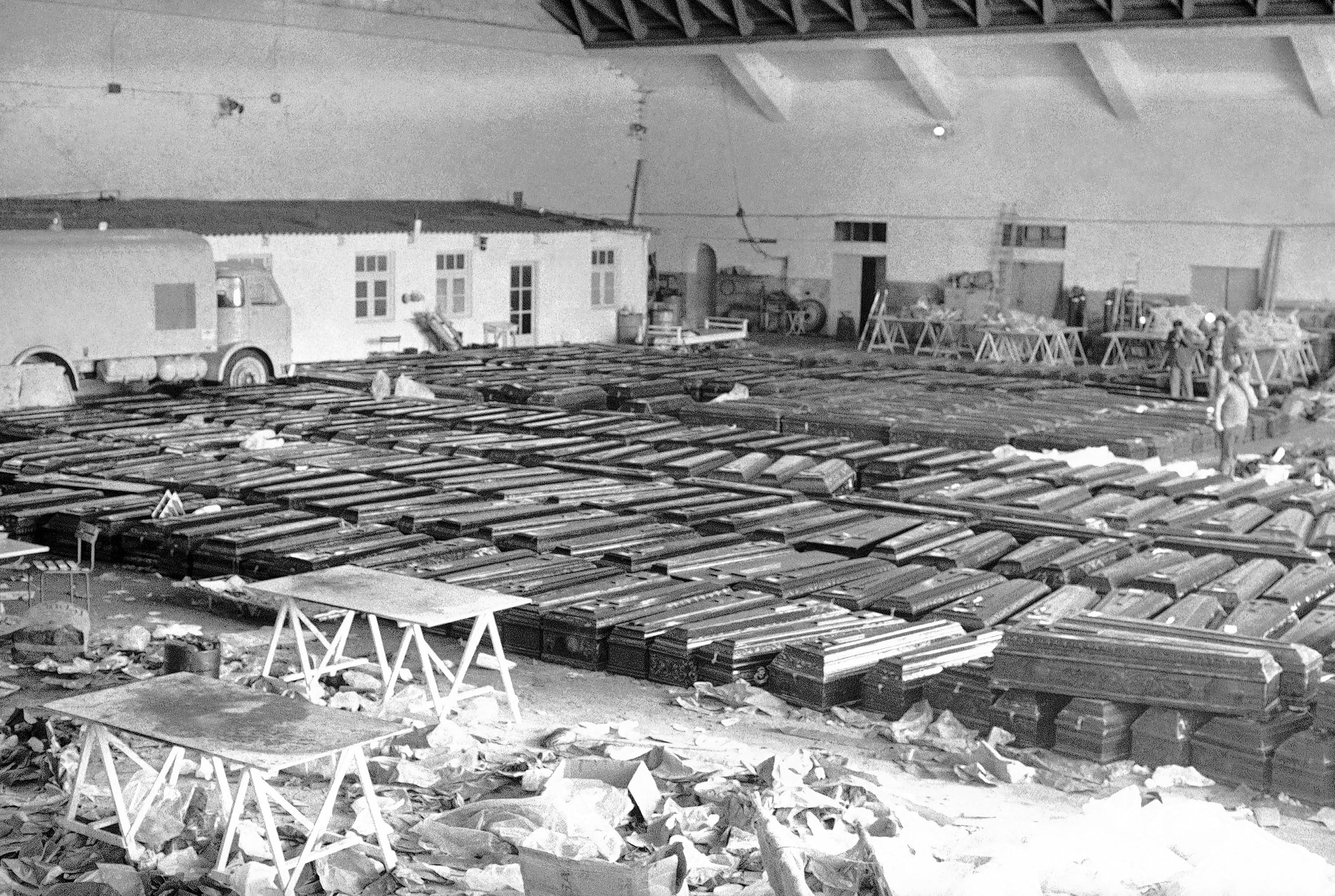 Coffins containing many of the 583 victims of the March, 27, 1977, collision of two jumbo jets lie in a hangar at Tenerife Airport in Santa Cruz de Tenerife, Canary Islands. It remains the world's worst aviation disaster.