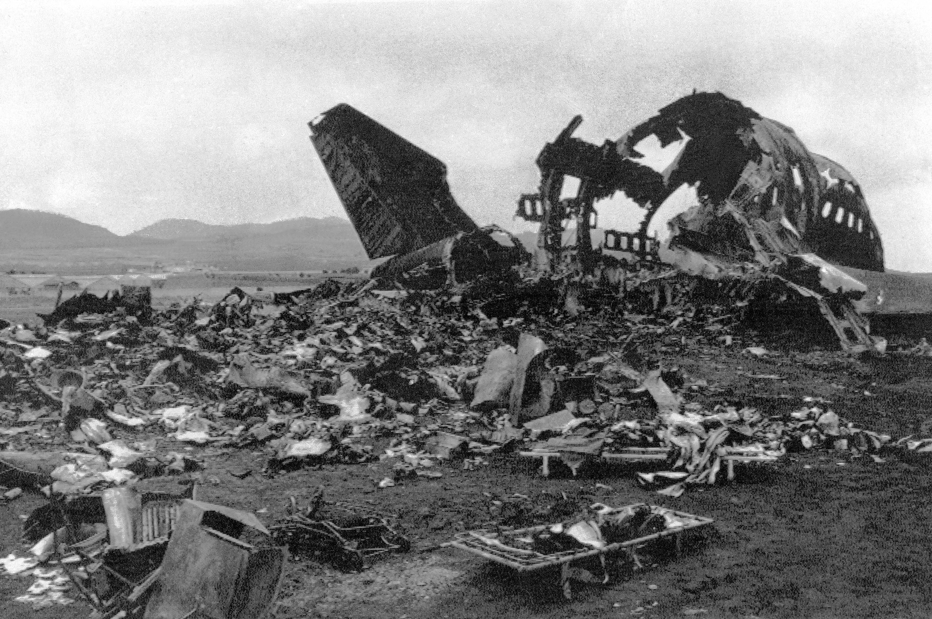 Wreckage from one of two Boeing 747 jumbo jetliners is strewed across Los Rodeos airport at Santa Cruz de Tenerife, a day after the March 27, 1977, collision that remains the worst in aviation history.