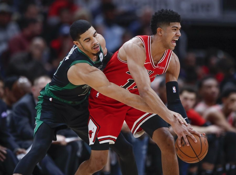 Bulls forward Chandler Hutchison, right, has been ruled out for the season with a lingering toe injury. Rookie Wendell Carter Jr. (not pictured) is also done for the year with a thumb injury.