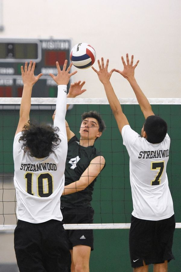 Grayslake Central's Tyler Armstrong (4) hits through the block of Streamwood's Kevin Patino (10) and Carlos Jasso Saturday during the Grayslake Central boys volleyball tournament.