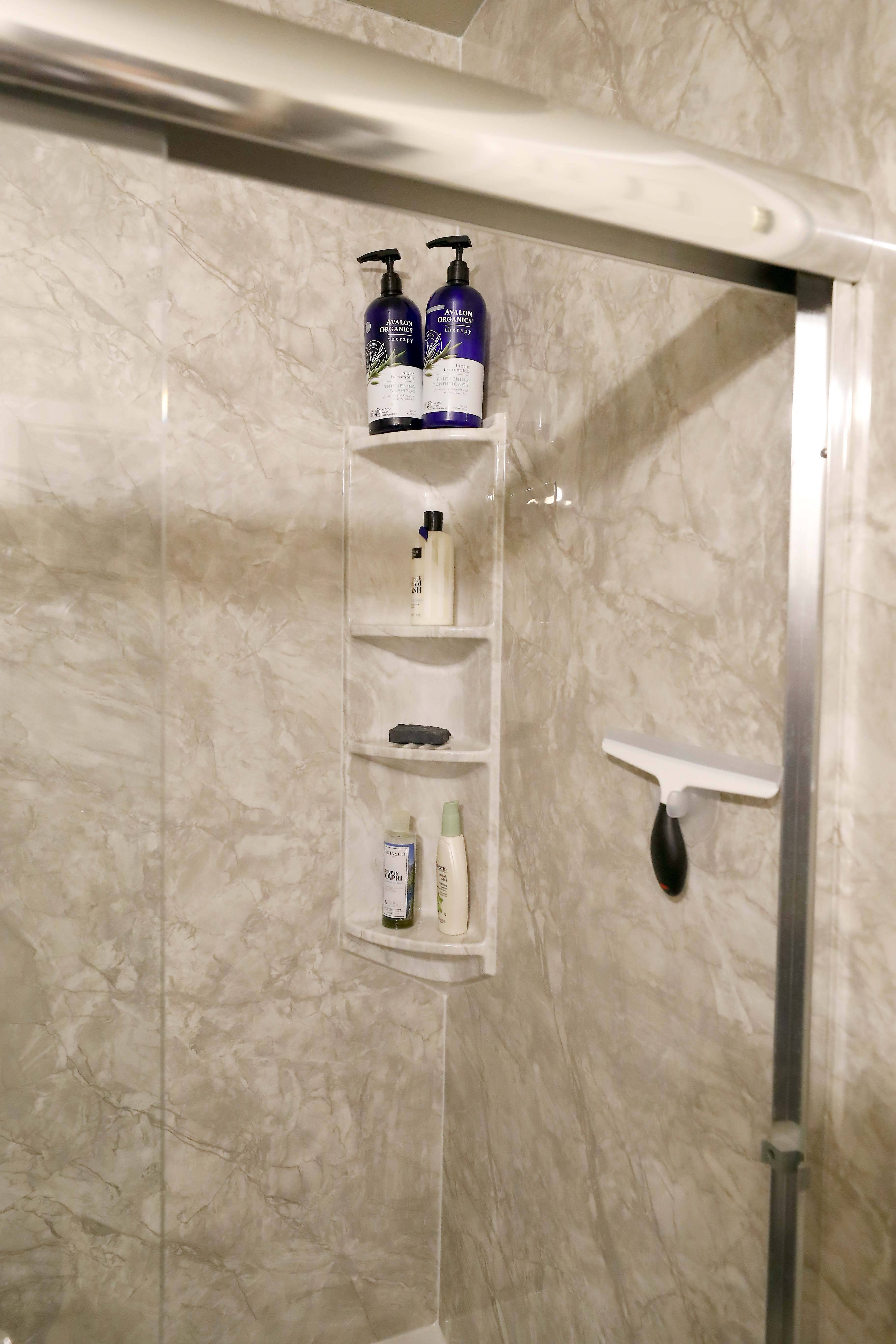 Bath Planet also installed a shelving unit in the Augustines' new shower.