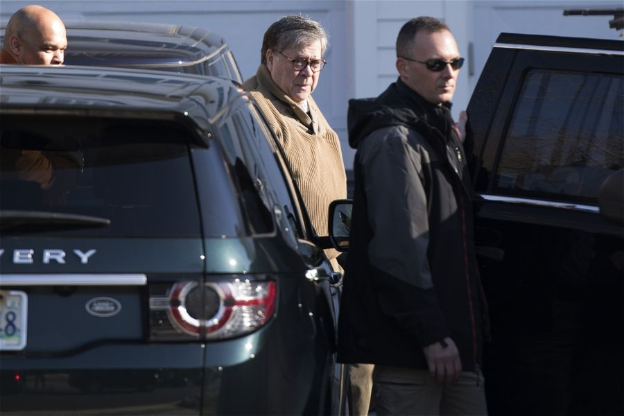 Attorney General William Barr leaves his home Saturday in McLean, Virginia. Special counsel Robert Mueller closed his long and contentious Russia investigation with no new charges, ending the probe that has cast a dark shadow over Donald Trump's presidency.