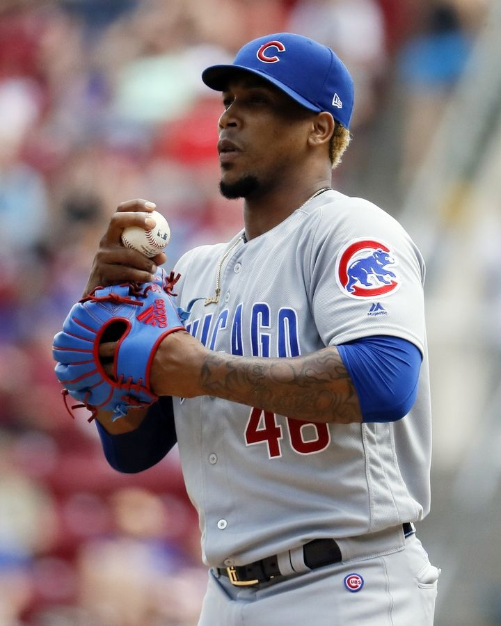 FILE- In this June 24, 2018, file photo, Chicago Cubs relief pitcher Pedro Strop reacts in the seventh inning of a baseball game against the Cincinnati Reds in Cincinnati. Strop has a strained right hamstring, eliminating the likely candidate to close at the start of the season as Brandon Morrow recovers from elbow surgery.