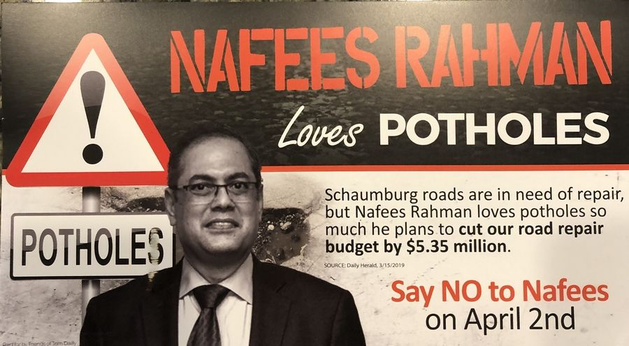 Schaumburg mayoral candidate Nafees Rahman is disputing the claims in a mailer from opponent Tom Dailly about the amount of cuts to road repairs he would make if elected. Dailly said he stands by his claims.