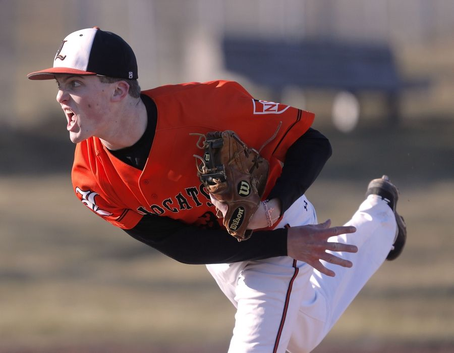 Libertyville's Derek Calamari pitches against Carmel Catholic last Friday.