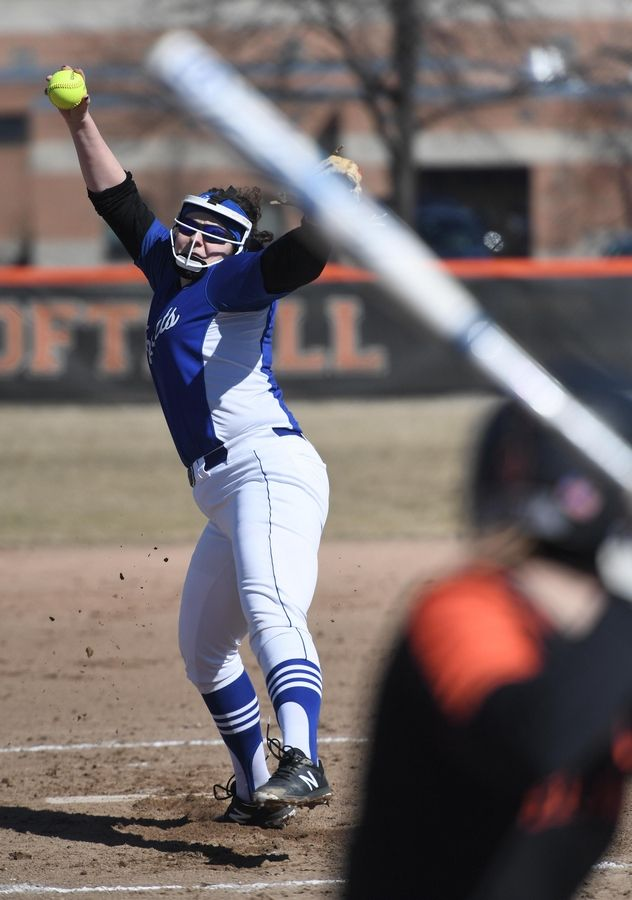 Burlington Central's Alisyn Catenacci pitches against St. Charles East Monday in St. Charles.