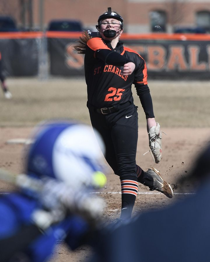 St. Charles East's Isabella Howe pitches against Burlington Central Monday in St. Charles.