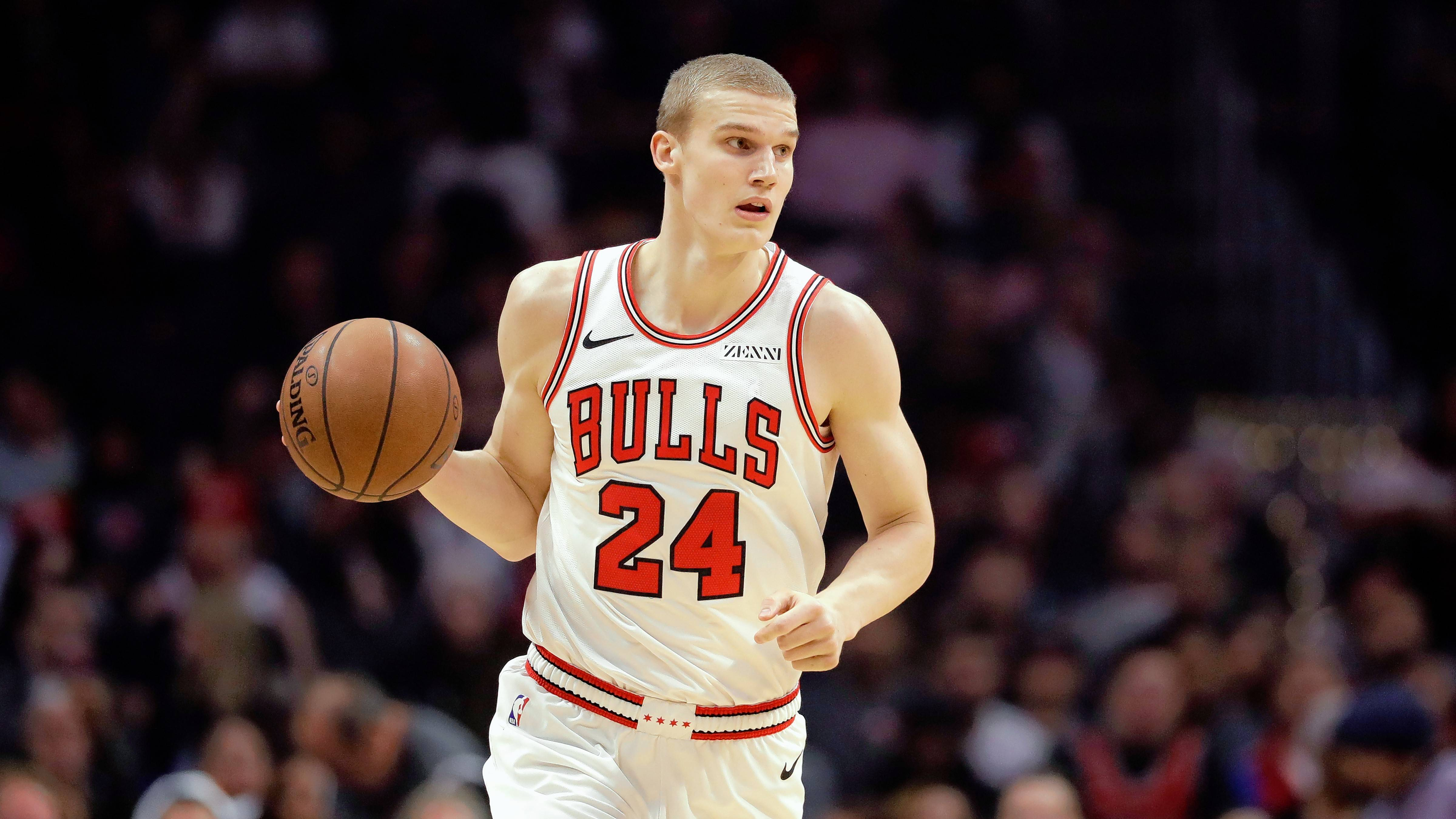 Chicago Bulls' Lauri Markkanen during an NBA basketball game Friday, March 15, 2019, in Los Angeles. (AP Photo/Marcio Jose Sanchez)