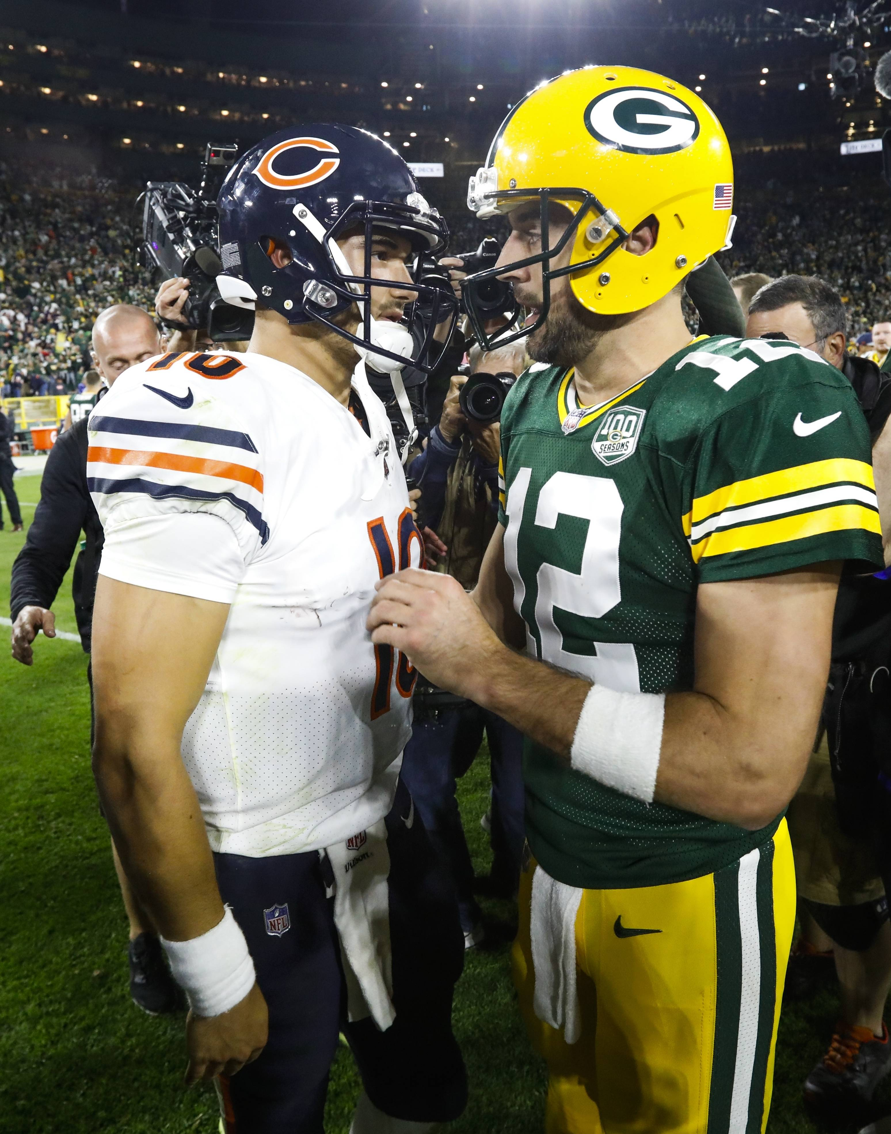 Associated Press/Sept. 9, 2018 Green Bay Packers quarterback Aaron Rodgers talks to Chicago Bears quarterback Mitchell Trubisky after a in Green Bay, Wisconsin. The Packers won 24-23.
