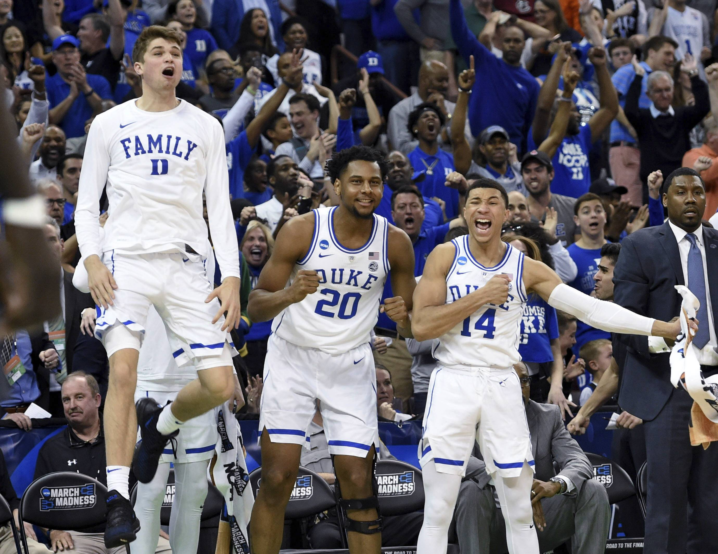 Duke's bench reacts to a play Sunday during the second half against Central Florida in the NCAA Tournament in Columbia, South Carolina.