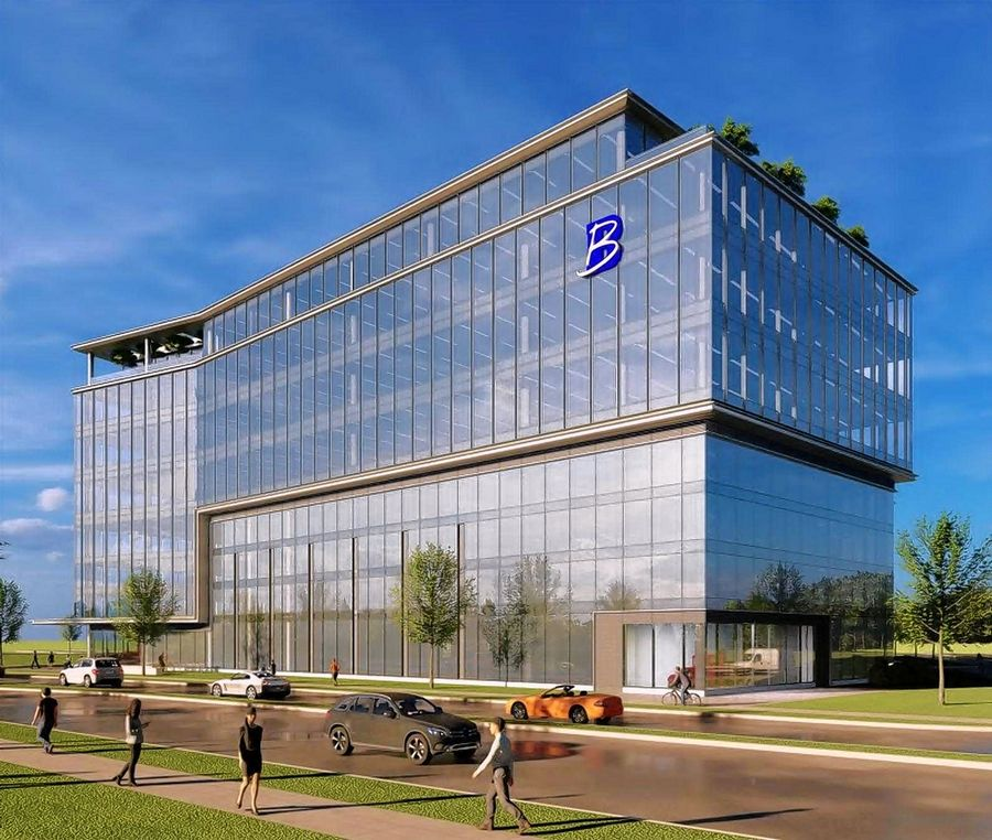 A rendering of The Boler Company's planned new global headquarters in the Veridian Development on the former Motorola Solutions campus in Schaumburg. The building is planned just north of Zurich North America's headquarters.