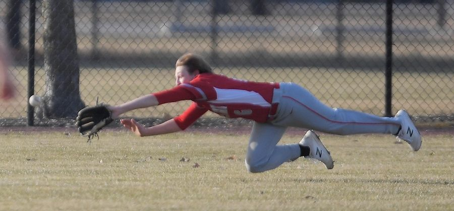 Aurora Christian leftfielder Owen Ragatz dives but misses an RBI double by St. Edward's Jeffrey Mamrot in the third inning in a baseball game in Aurora Tuesday.