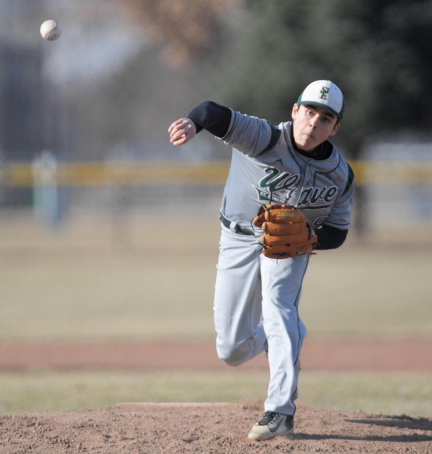 St. Edward's Joey Mandarino pitches against Aurora Christian in a baseball game in Aurora Tuesday.