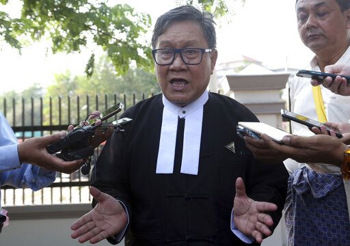 Khin Maung Zaw, a lawyer of two Reuters journalists, Wa Lone and Kyaw Soe Oo, talks to journalists as he leaves the Supreme Court after hearing re-appeal of the two journalists in Naypyitaw, Myanmar, Tuesday, March 26, 2019. Myanmar's Supreme Court agreed Tuesday to rule on an appeal filed by lawyers for two Reuters journalists sentenced to seven years in prison for their reporting on Myanmar's brutal crackdown on Rohingya Muslims.