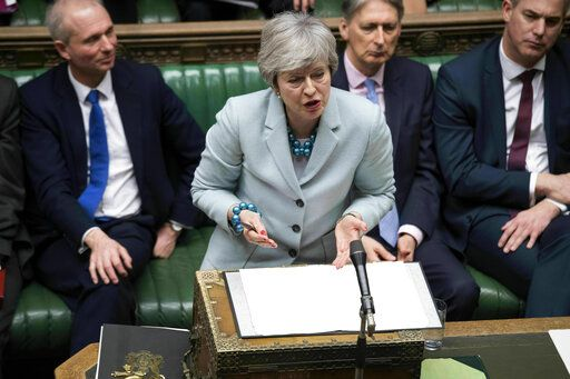 In this handout photo provided by the UK Parliament, Britain's Prime Minister Theresa May makes a statement on Brexit to the House of Commons, London, Monday, March 25, 2019. British Prime Minister Theresa May conceded Monday that Parliament would defeat her twice-rejected Brexit divorce deal again if she put it to a new vote, but said she still hopes to change lawmakers' minds and get the agreement approved. (Jessica Taylor/UK Parliament via AP)