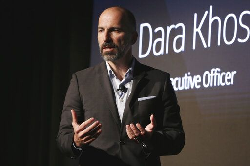 FILE - In this Sept. 5, 2018 file photo, Uber CEO Dara Khosrowshahi speaks during the company's unveiling of the new features in New York. Ride-hailing service Uber announced on Tuesday, March 26, 2019 it has acquired Mideast competitor Careem for $3.1 billion, giving the San Francisco-based firm the commanding edge in a region with a large young, tech-savvy population.