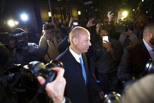 Attorney Michael Avenatti leaves Federal Court after his initial appearance in an extortion case Monday, March 25, 2019, in New York. Avenatti was arrested Monday on charges that included trying to shake down Nike for as much as $25 million by threatening the company with bad publicity. (AP Photo/Kevin Hagen).