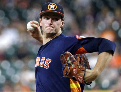 Houston Astros starting pitcher Forrest Whitley throws during the first inning of an exhibition baseball game against the Pittsburgh Pirates, Monday, March 25, 2019, in Houston. (AP Photo/David J. Phillip)