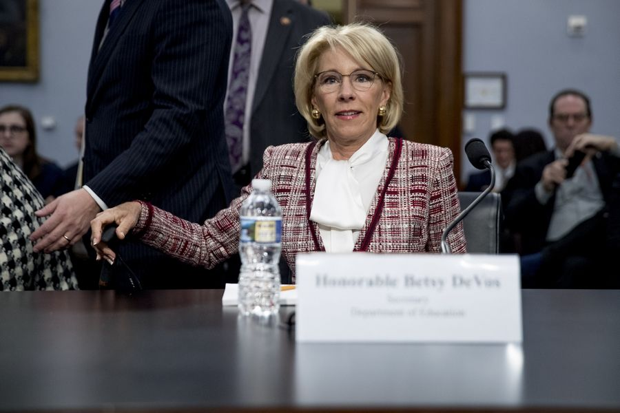 Education Secretary Betsy DeVos arrives Tuesday for a House Appropriations subcommittee hearing on budget on Capitol Hill in Washington.