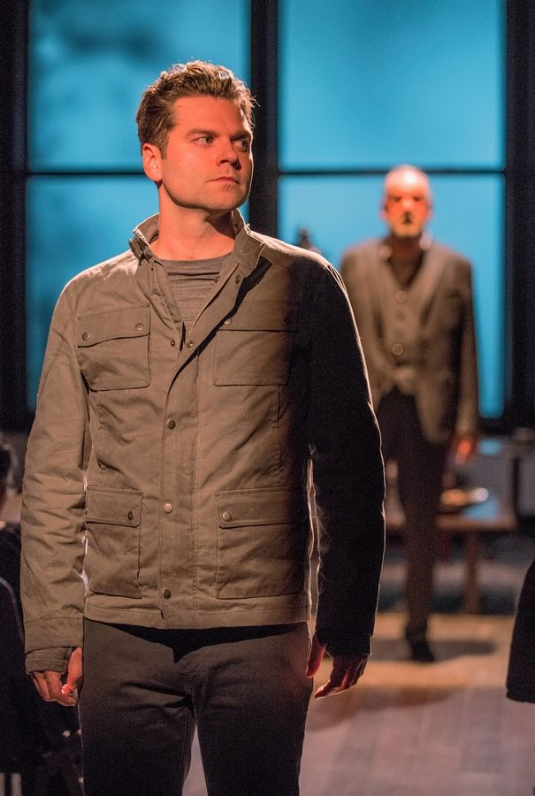 "Bernard (Nate Burger), left, seethes with anger and resentment as he's questioned by his distant father (William Brown) in Caryl Churchill's ""A Number"" at Writers Theatre in Glencoe."
