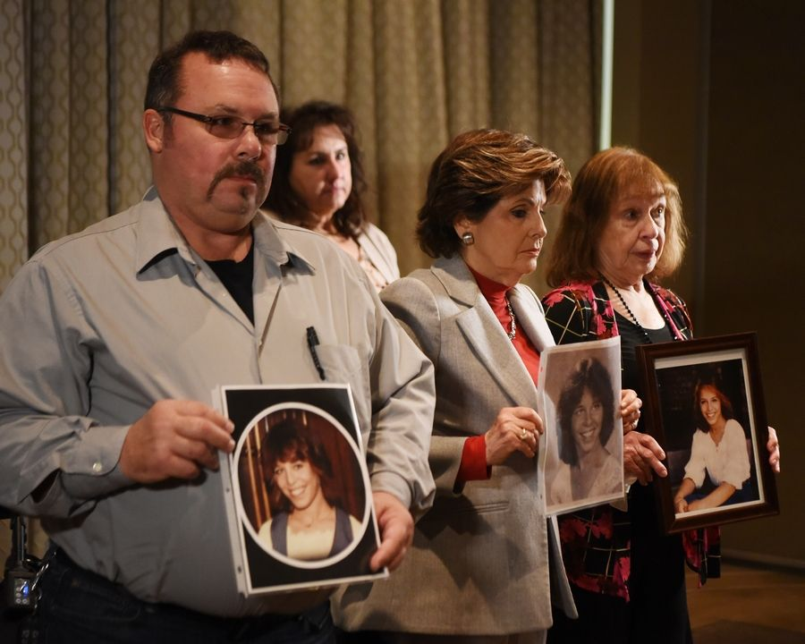 "Lorry Borowski's brother Mark and mother Lorraine, far right, join attorney Gloria Allred, center, and Lorry's best friend, Liz Suriano, during a news conference Friday in Rosemont calling on state lawmakers to create ""Lorry Ann's Law,"" which would be an amended version of the Illinois Sex Offender Registration Act. Lorry, a 21-year-old Elmhurst woman, was sexually assaulted and murdered in 1982."