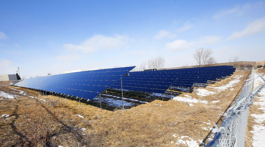 Proposals for alternative energy projects like these solar panels in St. Charles are now on hold in Long Grove, after the village enacted a 90-day moratorium to allow time to clarify and update local regulations.