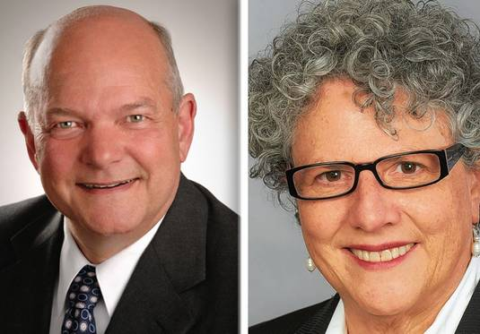 David Kaptain, left, and Carol Rauschenberger right, are running for Elgin mayor in Tuesday's election.
