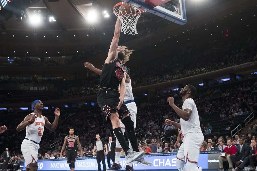 Chicago Bulls center Robin Lopez (42) dunks during the second half Monday against the New York Knicks at Madison Square Garden. Lopez celebrated his 31st birthday by scoring 29 points, one short of his career-high.