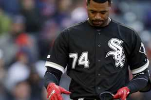Chicago White Sox s Eloy Jimenez drops his bat after striking out against  Cleveland Indians starting pitcher ed59bfaac