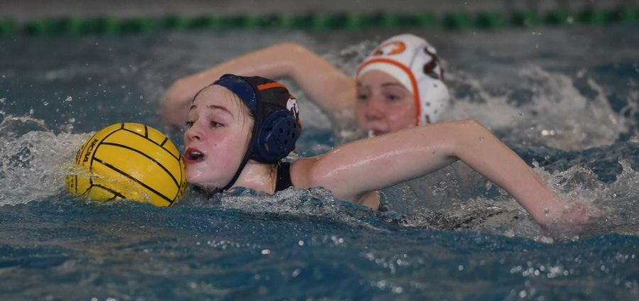 Buffalo Grove's Caitlyn Conroy leads a breakaway during Wednesday's home match against Hersey.