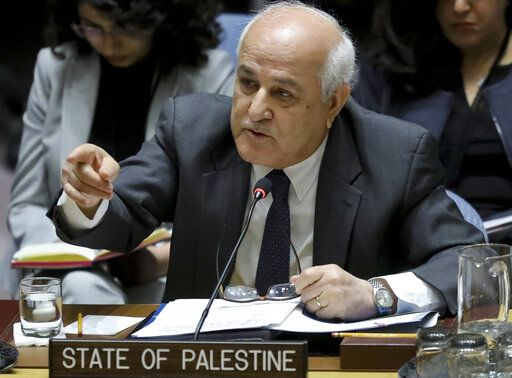 FILE - In this Tuesday, March 26, 2019 file photo, Palestinian Ambassador to the United Nations Riyad Mansour address a U.N. Security Council meeting on the Palestinian and Israeli conflict, Tuesday, March 26, 2019, at U.N. headquarters. The conflict with the Palestinians has been a central issue in Israeli elections going back decades, but in the campaign ahead of next week's vote it's been notably absent. With the peace process in a deep freeze, it is perhaps no surprise that none of the major Israeli parties are talking about the Palestinians.