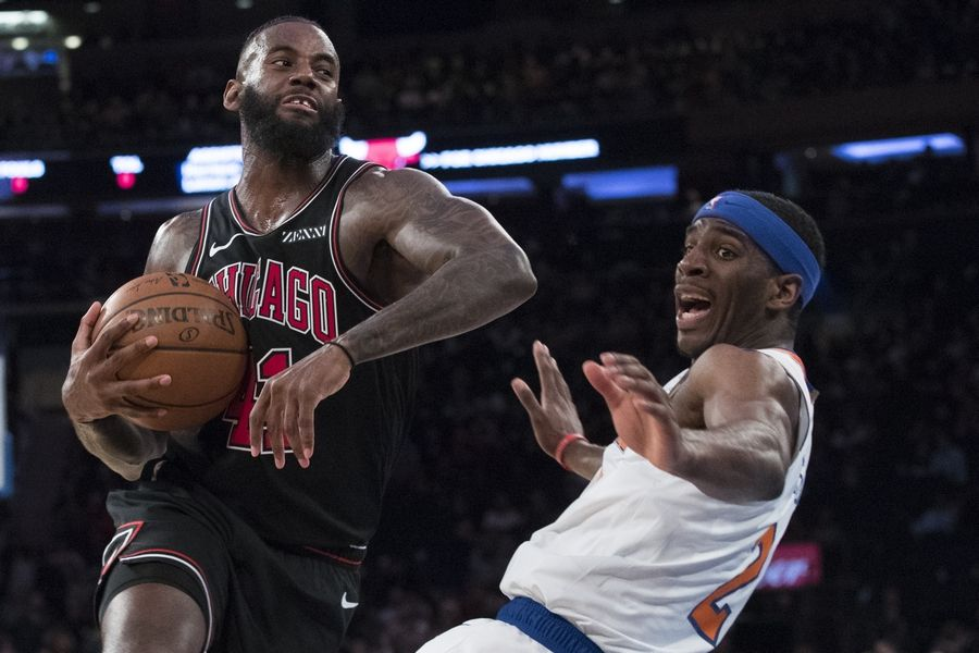 Chicago Bulls forward JaKarr Sampson drives to the basket against New York Knicks guard Damyean Dotson during the second half of the game om Monday at Madison Square Garden in New York. Sampson has done a nice job in two games since signing with the Bulls.