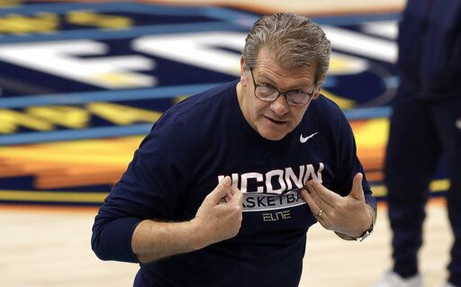 promo code 456f4 ede72 Connecticut head coach Geno Auriemma gestures during practice at the women s  Final Four NCAA college basketball
