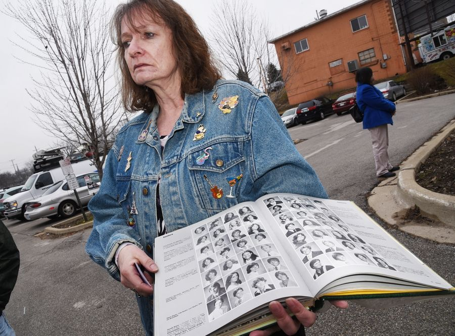 Amy Levin of Montgomery was a York High School classmate of murder victim Lorraine Borowski and was participating in Friday's protest at Wayside Cross Ministries in Aurora.