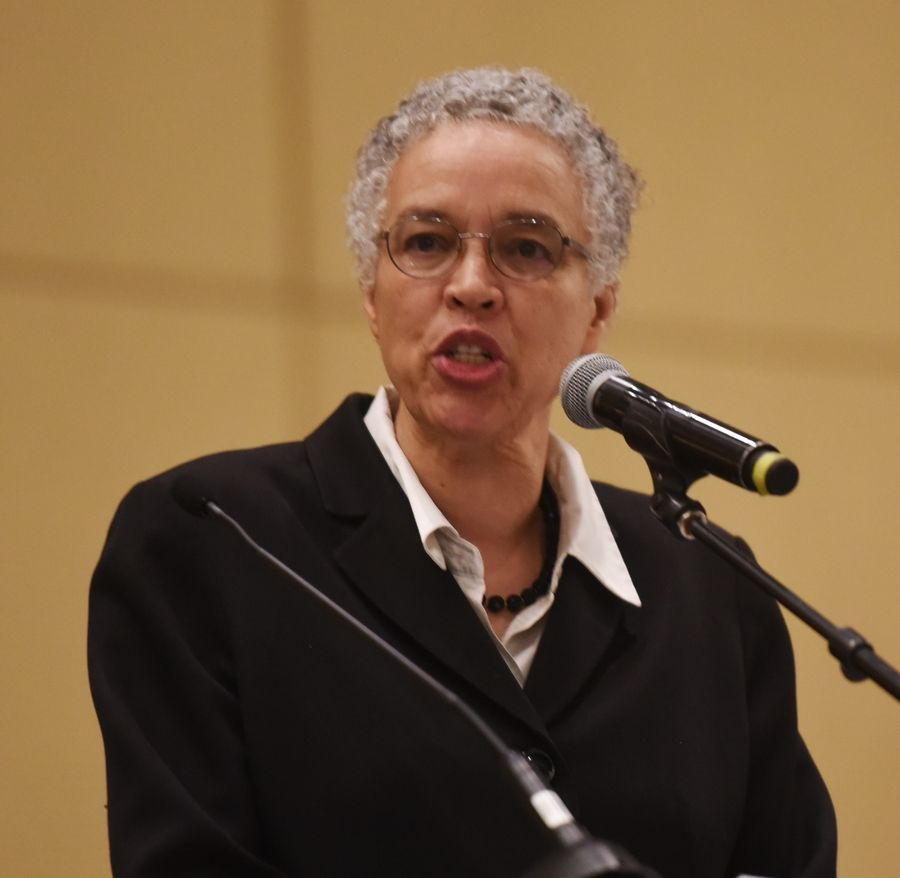 Cook County Board President Toni Preckwinkle speaks during the Illinois Commission on Diversity and Human Relations event commemorating the 51st anniversary of the death of Dr. Martin Luther King Jr. at the Renaissance Hotel in Schaumburg Saturday.