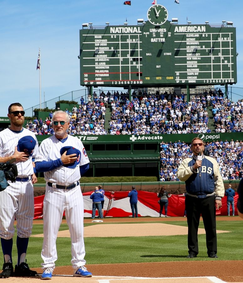 Only after Wayne Messmer performs the national anthem Monday at Wrigley Field for the Chicago Cubs Opening Day does the popular singer tear up. Twenty-five years ago, Messmer was shot in the throat and wasn't sure if he would live, let alone sing again.