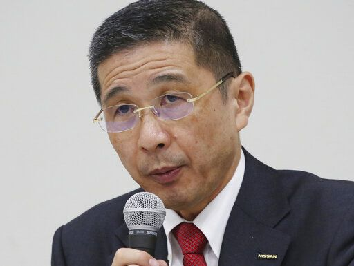In this Dec 17, 2018, photo, Nissan Motor Co. Chief Executive Hiroto Saikawa speaks during a press conference in Yokohama. Nissan Chief Executive Saikawa has apologized to shareholders for the unfolding scandal at the Japanese automaker and asked for their approval to oust from the board former Chairman Carlos Ghosn, who has been arrested on financial misconduct charges. Saikawa and other Nissan Motor Co. executives bowed deeply at a Tokyo hotel Monday, April 8, 2019, where the extraordinary shareholders' meeting was being held.