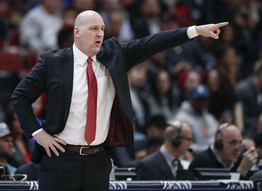 Chicago Bulls coach Jim Boylen motions during the first half of the team's NBA basketball game against the New York Knicks on Tuesday, April 9, 2019, in Chicago.