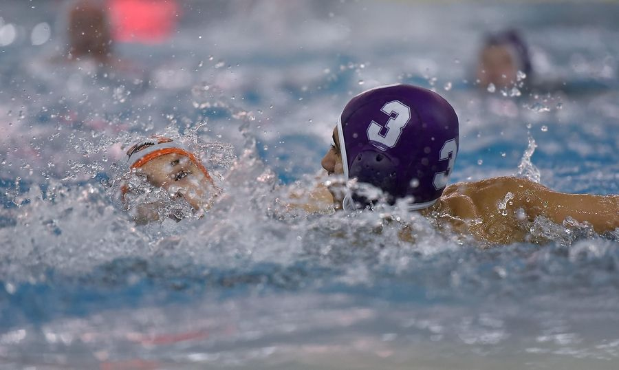 Hersey's Carter Cosley and Rolling Meadows' Lloyd Quadros battle in a boys water polo game at Elk Grove High School Wednesday.