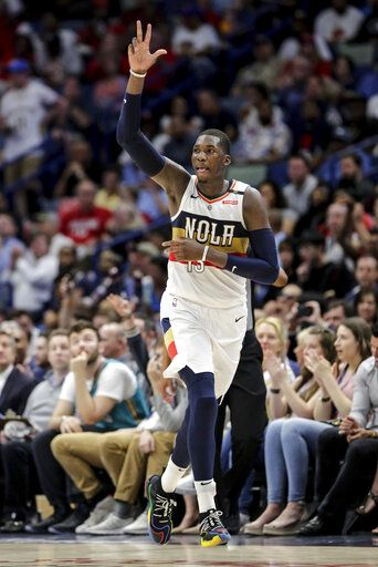 845ec324569 New Orleans Pelicans forward Cheick Diallo (13) celebrates after sinking a  three-point