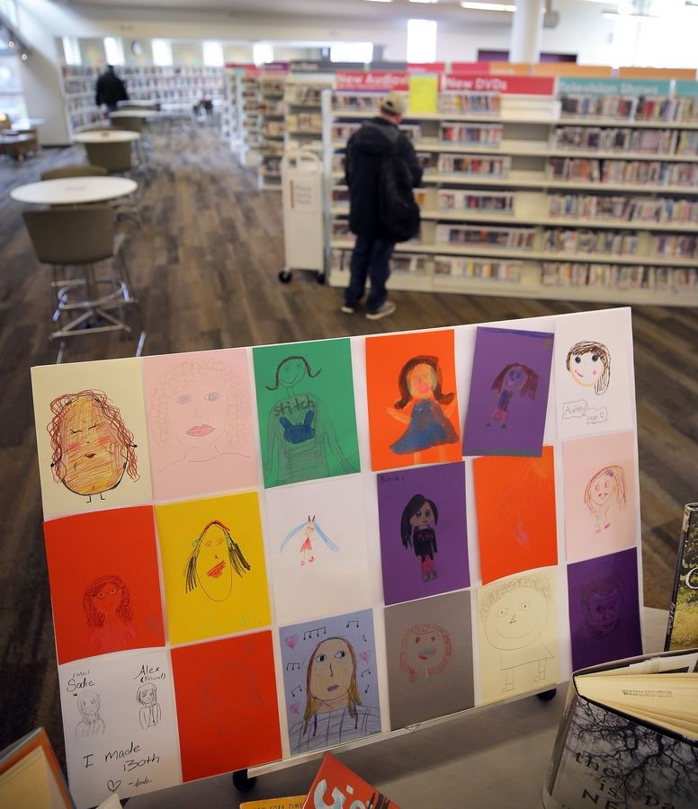 More than 200 self-portraits decorate the Wauconda Area Library to commemorate the community's support of the facility. Adults and children created the drawings using crayons, colored pencils, and markers.
