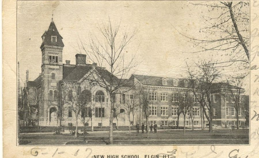 The original Elgin High School building, left, with a newer addition to the right. The older structure was demolished in 1910 and the addition became the new high school building.