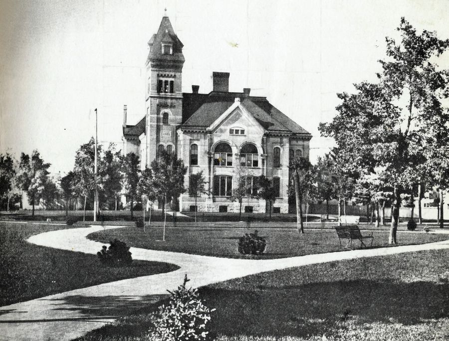 A picture of the first Elgin High School building taken around 1898. The building served EHS students between 1884 and 1910.