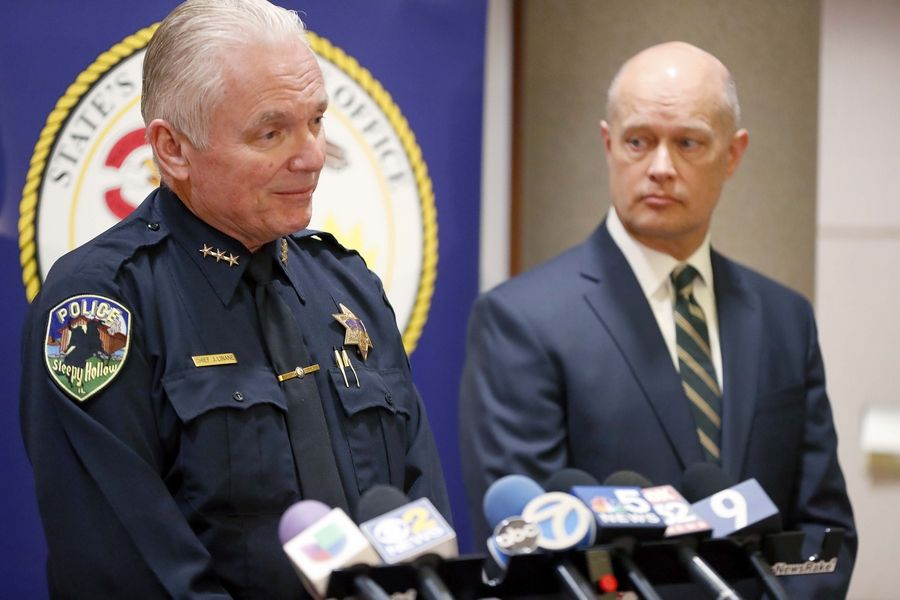 Sleepy Hollow Police Chief James Linane, left, and Kane County State's Attorney Joe McMahon discuss charges Thursday against Fabian Torres, who is accused of attempted murder and more in the attack on two teenage neighbors.