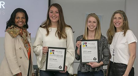 Emily Bruere, second from left, of Wheaton and Jessica Leeper of Clarendon Hills receive the new Pathway Healthcare Design Studio Scholarship Awards from Pathway to Living's  Carol Frazier, left, and College of DuPage instructor Suzann Nordstrom.