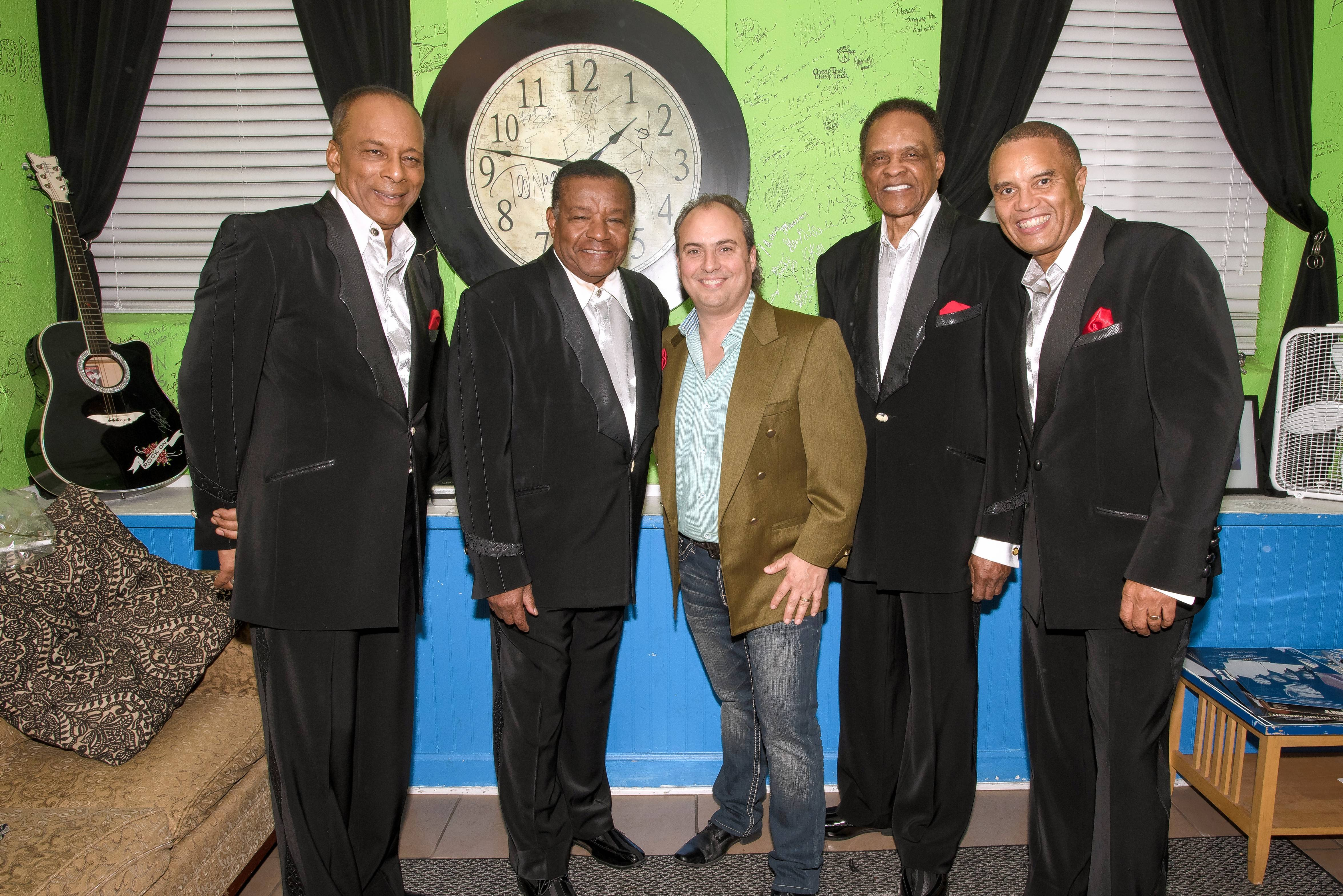 Little Anthony (second from left) and the Imperials pause to take a photograph with Arcada Theatre owner Ron Onesti prior to their recent show in St. Charles.