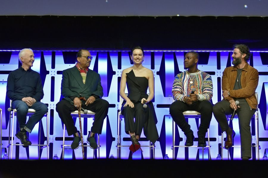 "Anthony Daniels, left, Billy Dee Williams, Daisy Ridley, John Boyega and Oscar Isaac participate in the ""Star Wars: The Rise of Skywalker"" panel on Friday, the first day of the Star Wars Celebration at Wintrust Arena in Chicago."