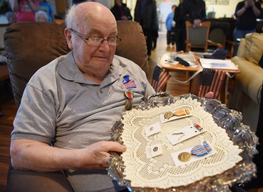 After 73 years, veteran Eugene Termini was presented five medals he earned during his World War II service during a ceremony Sunday.